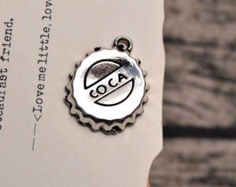 20 antique silver bottle cap charms coca charm pendant pendants  (L11)