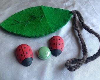 Lady bug leaf pouch