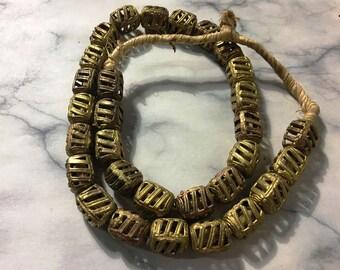 Wound square bead, african metal ashanti [1 piece]