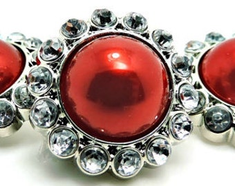 Pearl And Rhinestone Buttons Red Pearl Buttons W/ Brilliant Clear Surrounding Rhinestones-3185-31P-26MM.