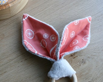Teether in natural wood and cotton and minkee fabric bunny ears