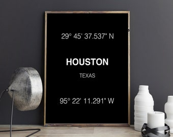 Houston Print - City Coordinates - Art Print - Wall Art - Typograhie - Texas - Home Decor - Poster - Printable Art - Digital Download