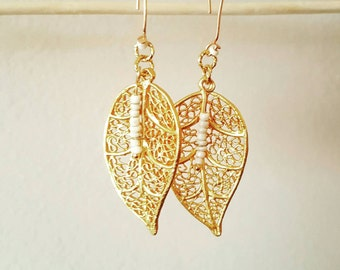 Earrings gold, plated leaf earrings, earrings party mothers.