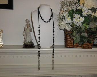Black beads Silver Necklace Short Pendant  Silver Tessel
