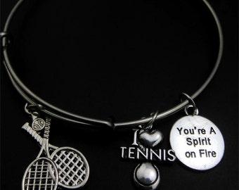Tennis Bracelet, I love tennis, You're a spirit on fire, tennis player, bangle bracelet, tennis is lofe