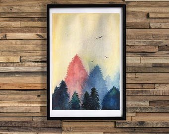 Watercolor forest / Forest Original watercolor