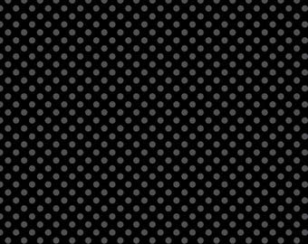 Riley Blake, Small Dot, Tone on Tone Black, fabric by the yard