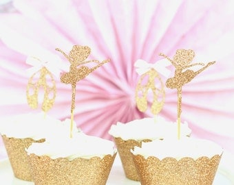 Ballerina Cupcake Toppers DOUBLE SIDED (12 pack).  These glitter ballerina cupcake picks are great for a girl birthday and girl baby shower.