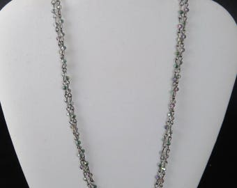 Double 3mm Aurora Crystal Chain Necklace