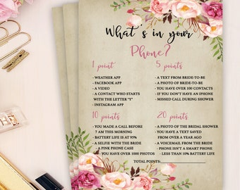 boho bridal shower game, what's in your phone bridal shower game, rustic bridal shower game, floral bridal shower game, wedding shower games