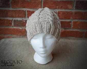 Neutral knit cable hat