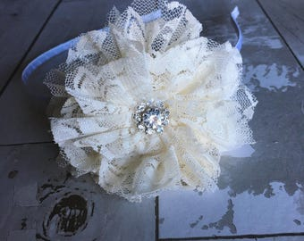 Ivory Lace Flower Headband,