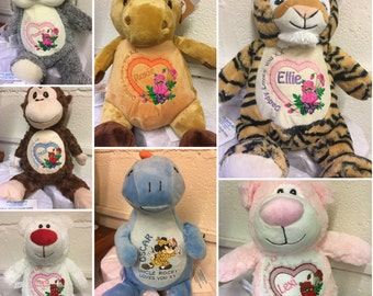 Personalised soft toy bears & other animals