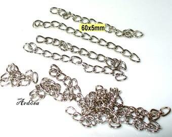 10 massive extension chain 6 cm Silver (K212. 5)