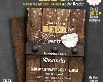Beer and diaper party invitation, Printable dad baby shower, Instant download Self Editable PDF template A260