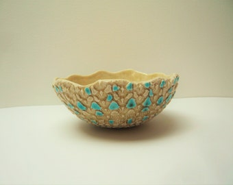 Cup ceramic handcrafted with lace print