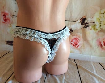 Black and White Sissy Maid Panties with lots of ruffles!
