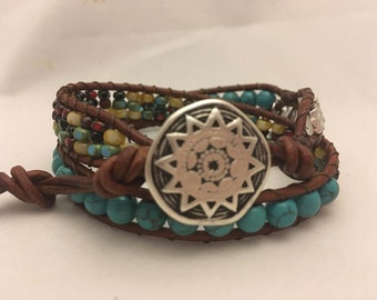 Brown Leather Turquoise and Picasso Mix Seed Beaded Double Wrap Bracelet - Southwest Style Leather Wrap Bracelet - 2 Times Wrap Bracelet