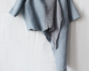Wool Jacket, Grey knitted and felted asymmetric cardigan, Felted Texture Minimalist  Grey Sweater