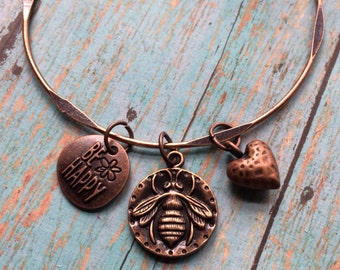 Bee Happy bangle bracelet, charm bracelet with bee charm