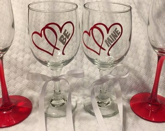"Valentine Wine Glasses Set of TWO""! Valentine's Day Glass Celebration February 14th"