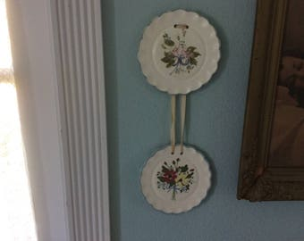 Vintage, 1930-40's Plates,Porcelain Hand Painted, Hanging Decorative, Silk Ribbon