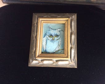 "VintageOil Painting, Signed, Wood Frame, ""The Cynical Old Owl"""