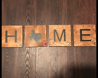 Personalized State Scrabble Tiles, Home Country Scrabble Tiles, Texas Scrabble Tiles, Large Scrabble Wall Art, Texas love scrabble tiles