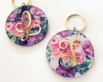 Floral Monogram Keychain   gold bachelorette party gifts bridal shower bridesmaid gift flower girl mother the bride maid of honor EB3185