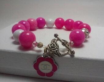 Sale, Beaded CC charm hot pink bracelet