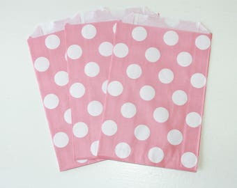 Light Pink Polka Dot Favor Bag / Pink Favor Bag / Pink Treat Bag / 12 bags / 7 x 4.75