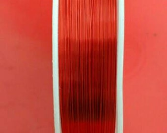 22m Red Copper wire Tiger tail coloured Metal wrap 1 roll 0.3mm length Jewellery Making diy Jewelry Findings Craft supplies UK