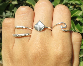 Sterling Silver Ring, 14K Gold Plated Ring, Seashell Ring, Clam Shell Ring, Beach, Stacking Ring, Nautical Ring, Clam Shell Jewelry, Gift.