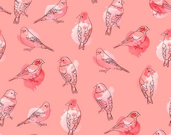 "Riley Blake by Amanda Herring  ""Desert Bloom""  Birds in Pink"