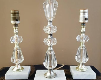 Imported hand-cut lead crystal SET of 3 lamps, geometric facets on marble bases. 1940s Hollywood Regency, art deco, crystal lucite heavy
