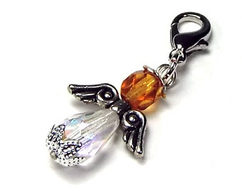 Pendant charm crystal clear amber, amber brown, angel charm - for charm bracelet necklace BuntMixxDESIGN