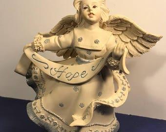 VINTAGE ANGEL FIGURINE 30411 Sarah Mckenzie help you soar Amazing Grace hope banner blue white statue sculpture spiritual religious