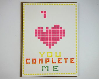 you complete me card- valentine card-card for him -sweet card for her -cute gift for boyfriend-cute gift for girlfriend- love Tetris card