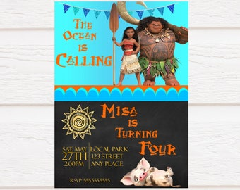Moana Birthday Invitation - Chalkboard - Personalized - Digital Print