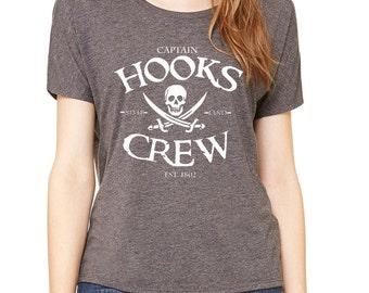 Disney Shirts Ladies Slouchy Tee Captain Hooks Crew Shirt Peter Pan shirt Pirate Shirt Disneyland Shirt Disney World Shirt Magic Kingdom Tee