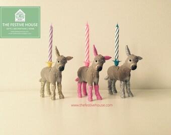 Donkey Candle Holder, Animal Candle Holders, Animal Cake Topper, Donkey Cake Topper, Cake Candles