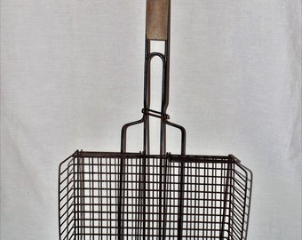 Camping gear,vintage campfire metal grill,wood handle,opens for double grill,cabin decor,strong heavy duty large family size,cooking gear