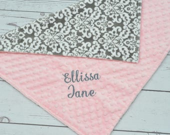 Baby Girl blanket - Personalized Minky baby blanket - Baby minky blanket - Damask minky blanket - Birth announcement blanket - Girl blanket