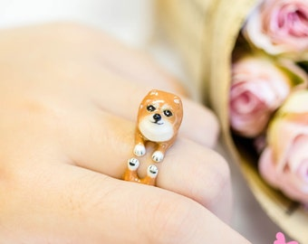 "Lovely Cute Hand Painting Enamel Pomeranian Ring (""Dear Dog Project"")"