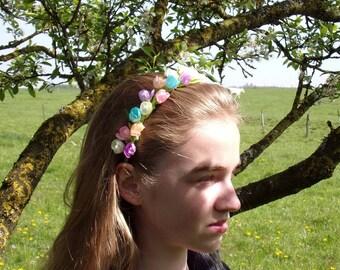 Multicolor kanzashi headband / tiara kanzashi flowers/pastel colors kanzashi/Headband kanzashi/Ribbon satin