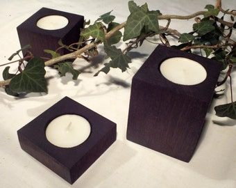 Set of 3 purpleheart tealight holders
