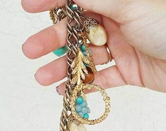 Vintage Gold Leaf Charm Bracelet
