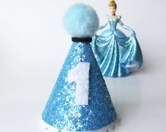 Cinderella Birthday - Cinderella party hat - mini party hat - Cinderella birthday hat - Princess - Disney Princess