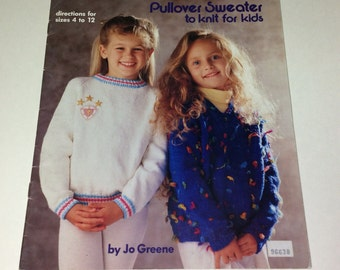 Kids Sweater Patterns - Pullover Sweater Patterns - Vintage Knitting - Christmas Gift - Knit Supplies - Sweater Patterns