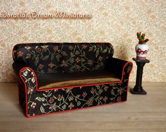 Dollhouse sofa 1:12 scale, Chinese dollhouse sofa 12th, Chinese miniature furniture, exclusive design and unique piece